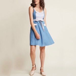 Modcloth Dress Blue Chambray A Line Strappy